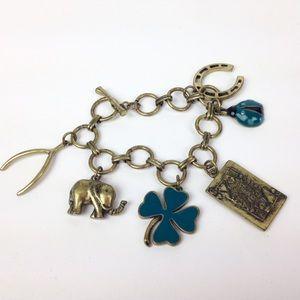 Boho charm bracelet good luck elephant horseshoe